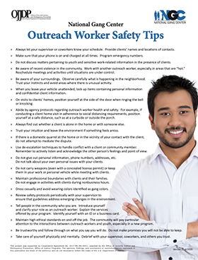 Outreach Worker Safety Tips document thumbnail
